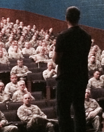 Herren sharing message to soldiers